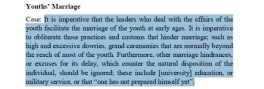 "According to the book that Tawhidi was distributing, practices should be ""obliderated"" that prohibit youth from marrying"