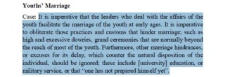 """According to the book that Tawhidi was distributing, practices should be """"obliderated"""" that prohibit youth from marrying"""