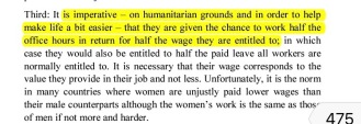 Women earn half the wage they are entitled to
