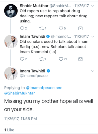 "Tawhidi recently indicated he was ""missing"" the user who interacted with ""BrotherTawhidi"""