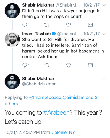 "Recent dialogue between Tawhidi and the user who interacted with ""BrotherTawhidi"""