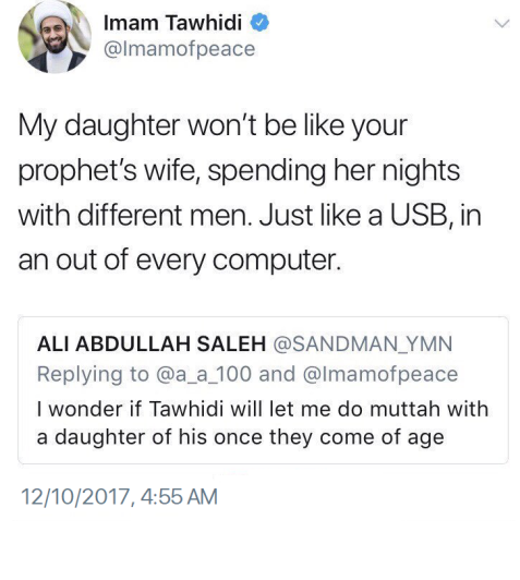 Recent provocative tweet made and deleted by Tawhidi