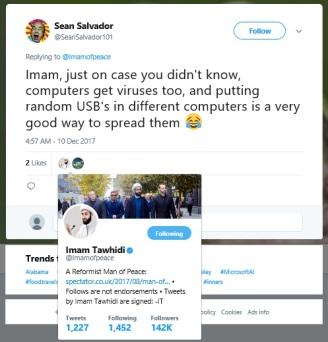 Tawhidi Aisha tweet liked by imam