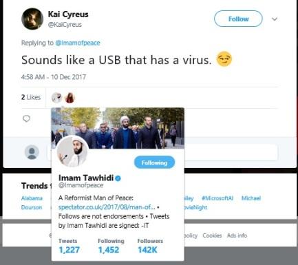Tawhidi Aisha tweet liked by imamT