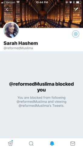 """Sarah"" blocked me"